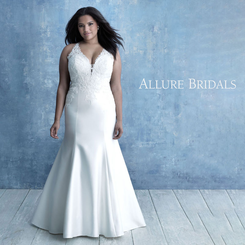 Plus-Size sleeveless fit and flare wedding dress by Allure Bridals