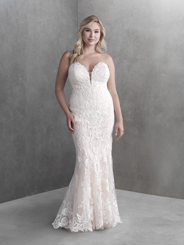 Plus-size strapless A-line wedding dress