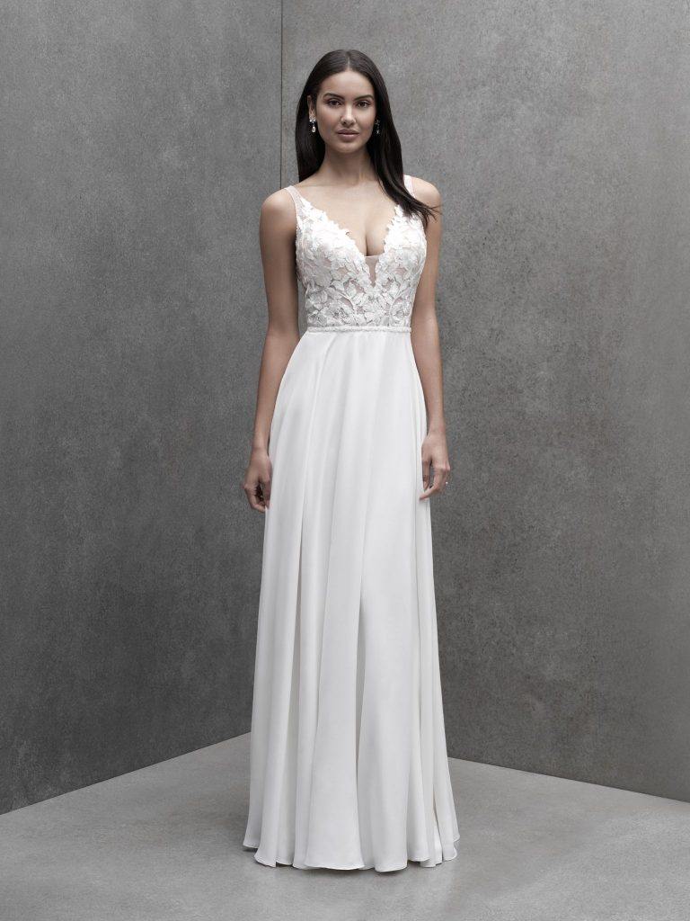 Sleeveless A-line wedding dress