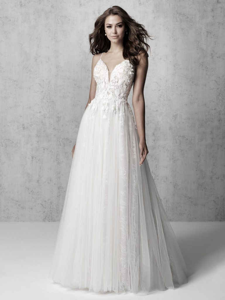 Romantic sleeveless a-line boho wedding dress