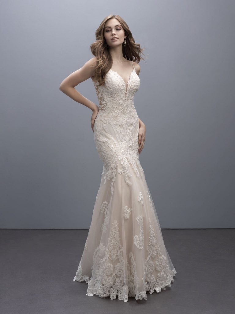 Sleeveless lace fit and flare bridal gown