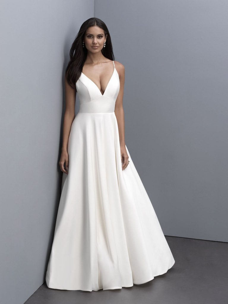 Elegant sleeveless satin A-line wedding dress
