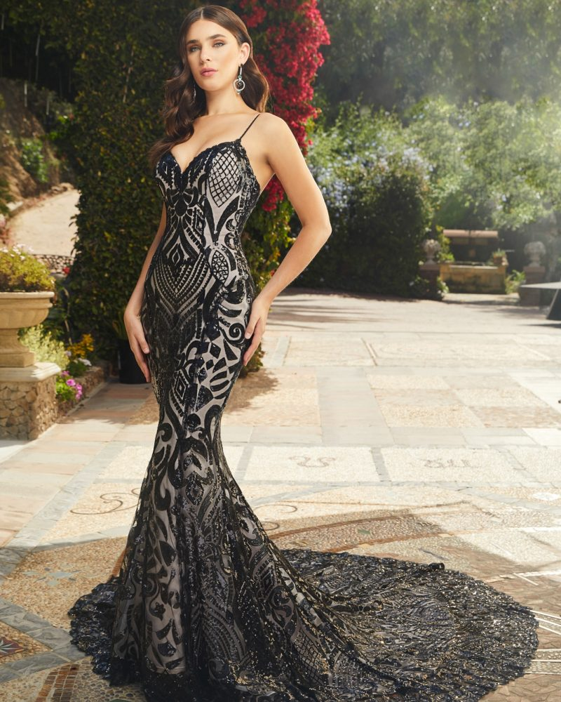 Black sleeveless fit and flare bridal gown
