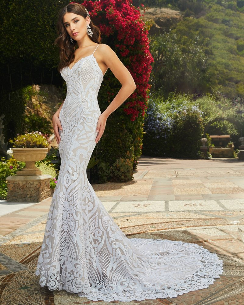 Sleeveless fit and flare bridal gown