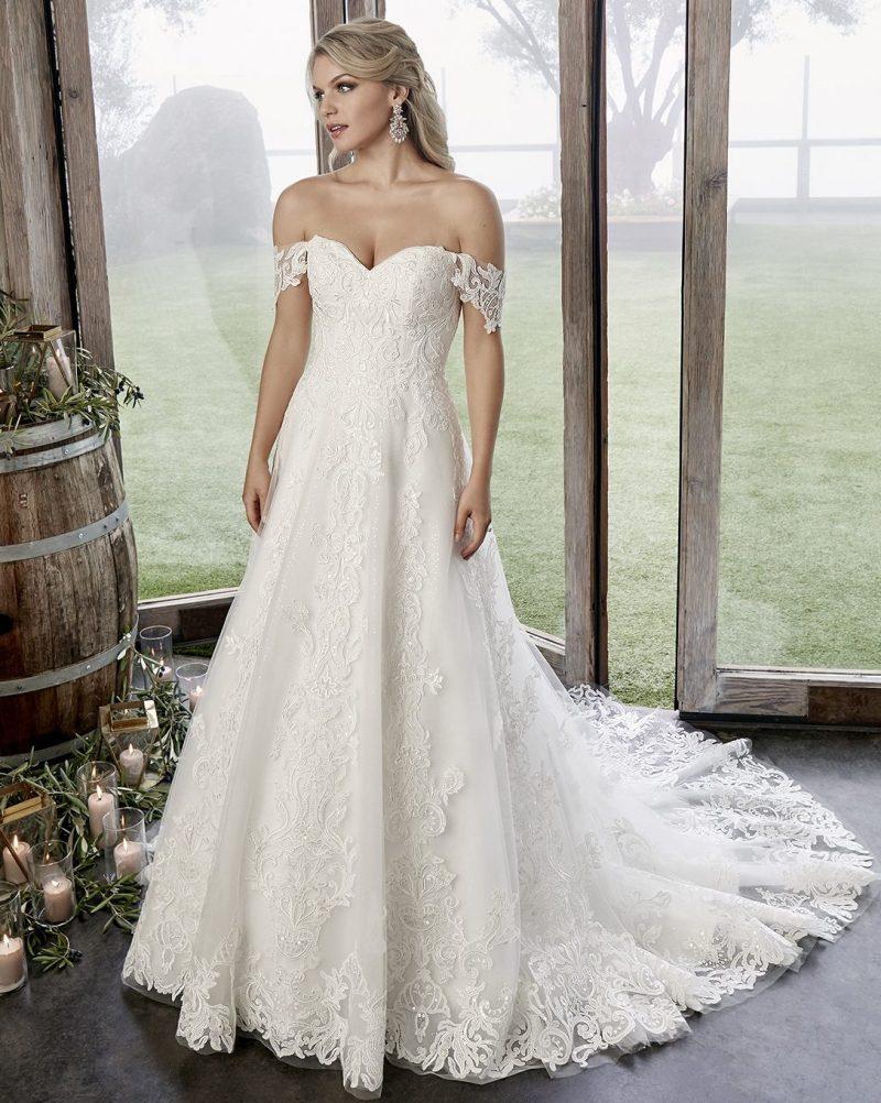 Romantic off-the-shoulder A-line bridal gown