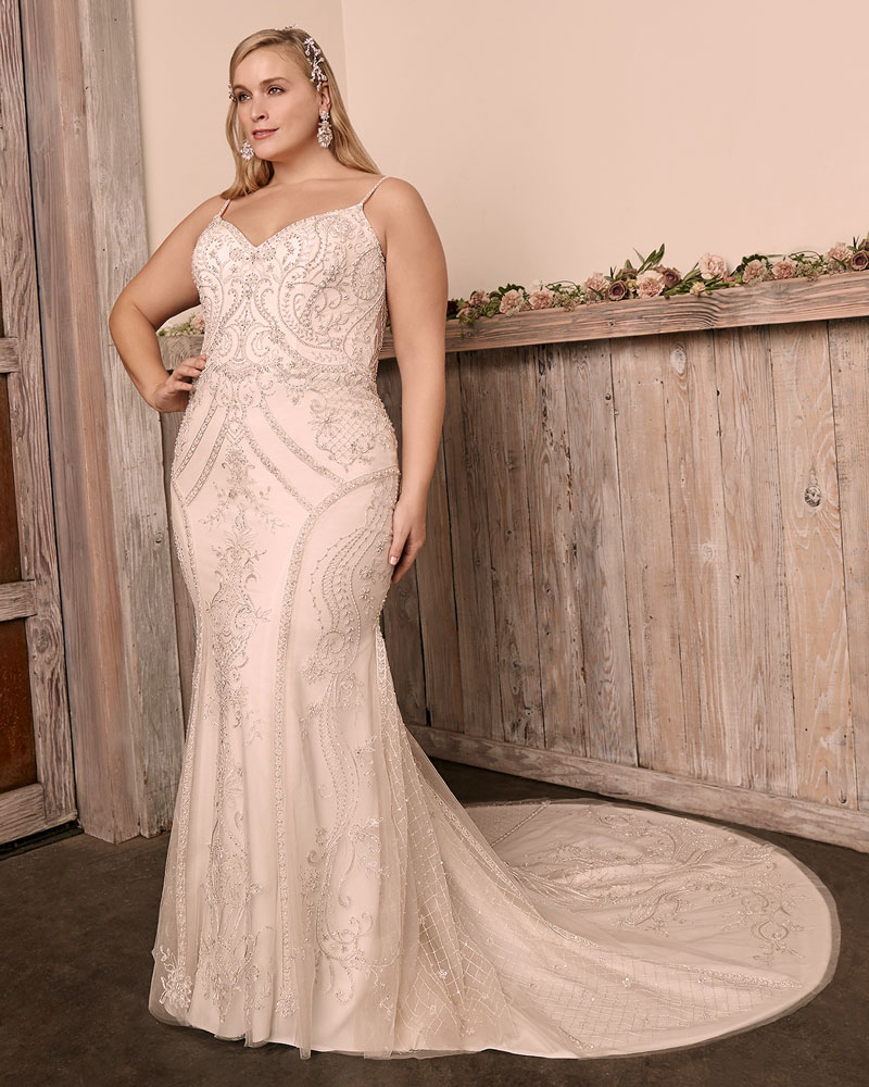 Plus-Size sleeveless fit and flare bridal gown