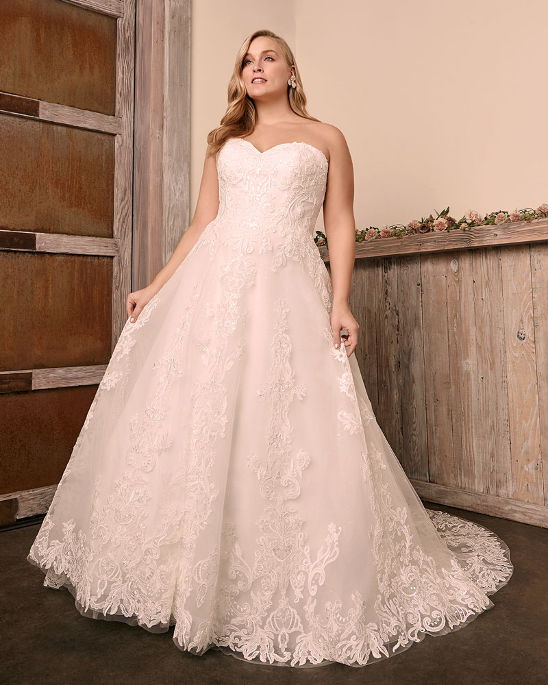 Plus-size strapless A-line wedding dress