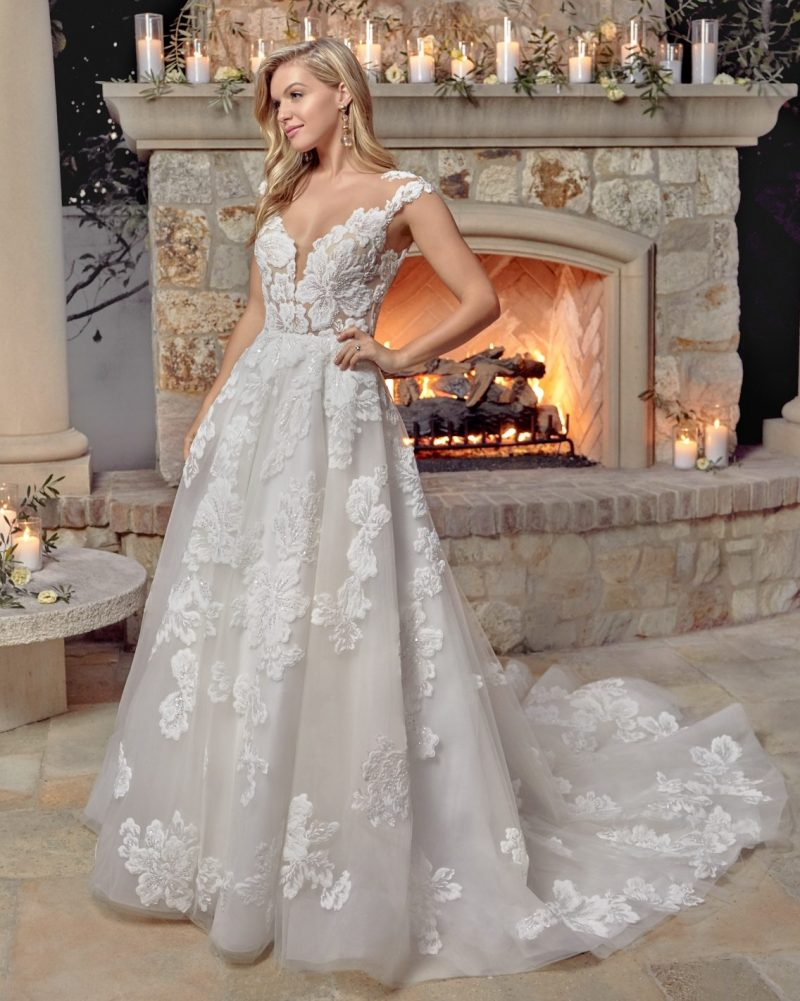 Classic sleeveless A-line wedding dress