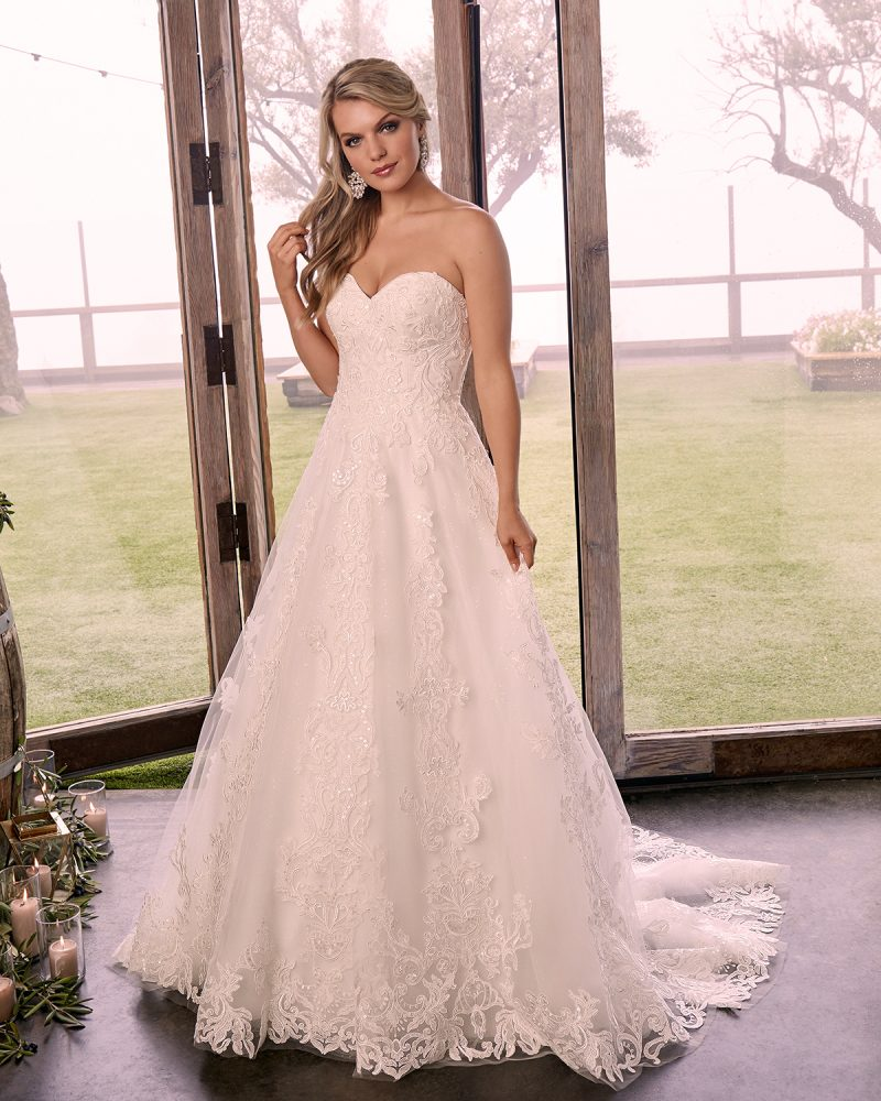 Strapless A-line bridal gown