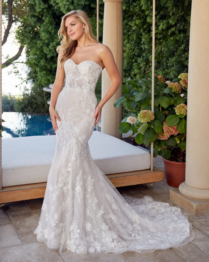 Strapless fit and flare bridal gown