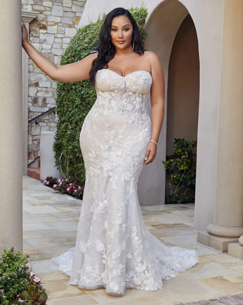 Plus-size strapless fit and flare bridal gown