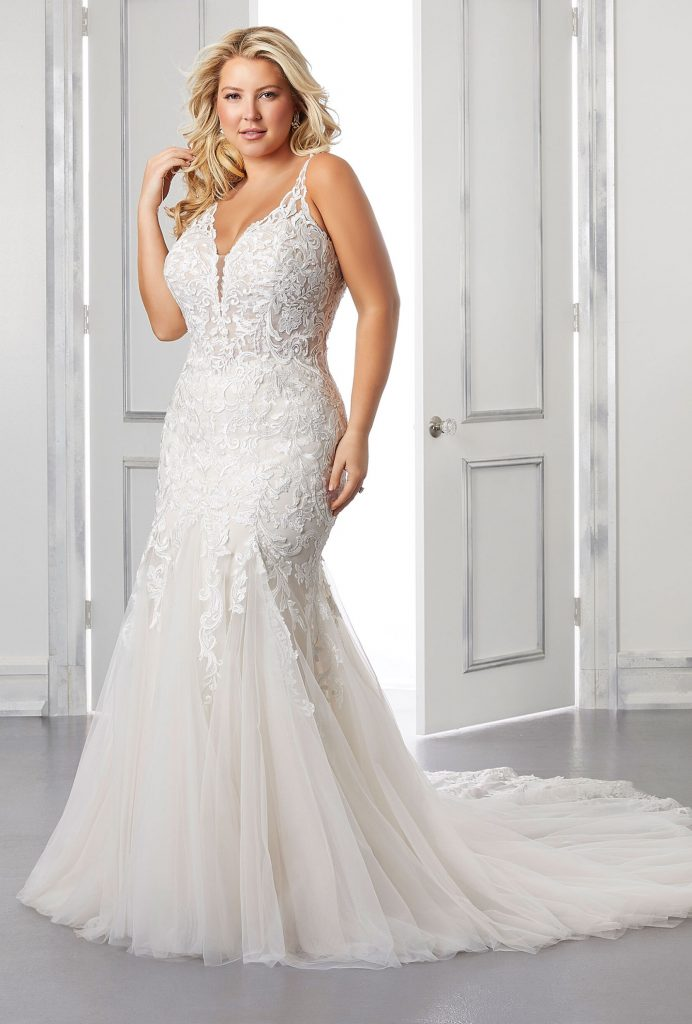 Sleeveless fit-and-flare-plus-size-bridal gown
