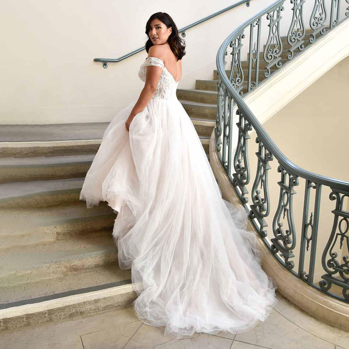 Back view of ballgown wedding dress from Essense Of Australia