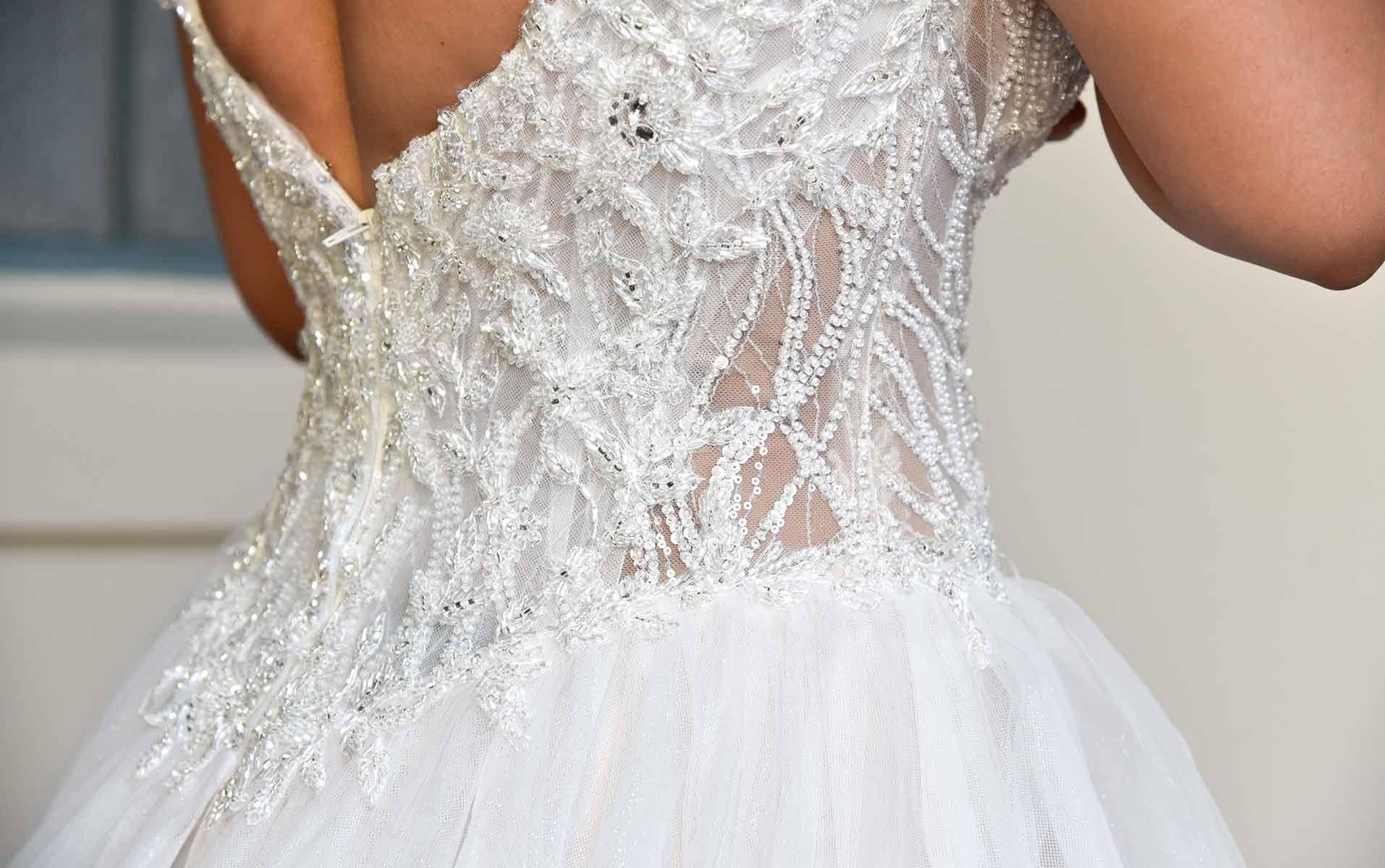 Back detail of ballgown wedding dress