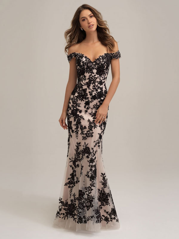 Black-fit-and-flare wedding dress with off-the-shoulder cap sleeves