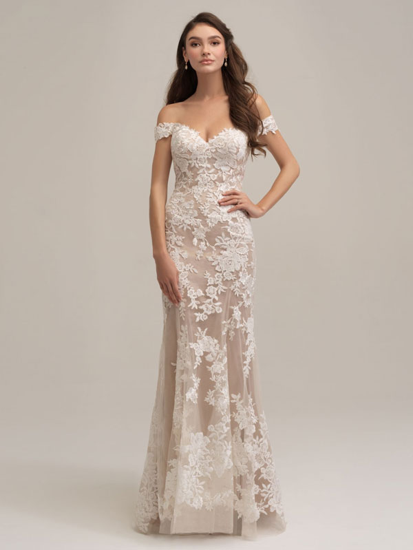 Off-the-shoulder fit-and-flare wedding dress