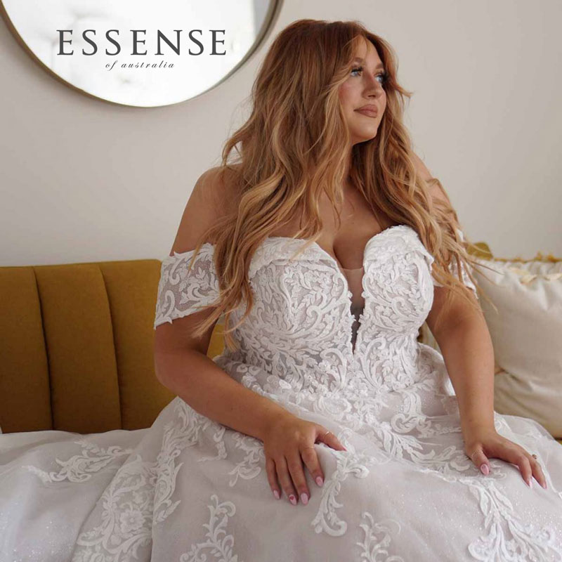 Plus-Size Bridal Gown with off-the-shoulder cap sleeves