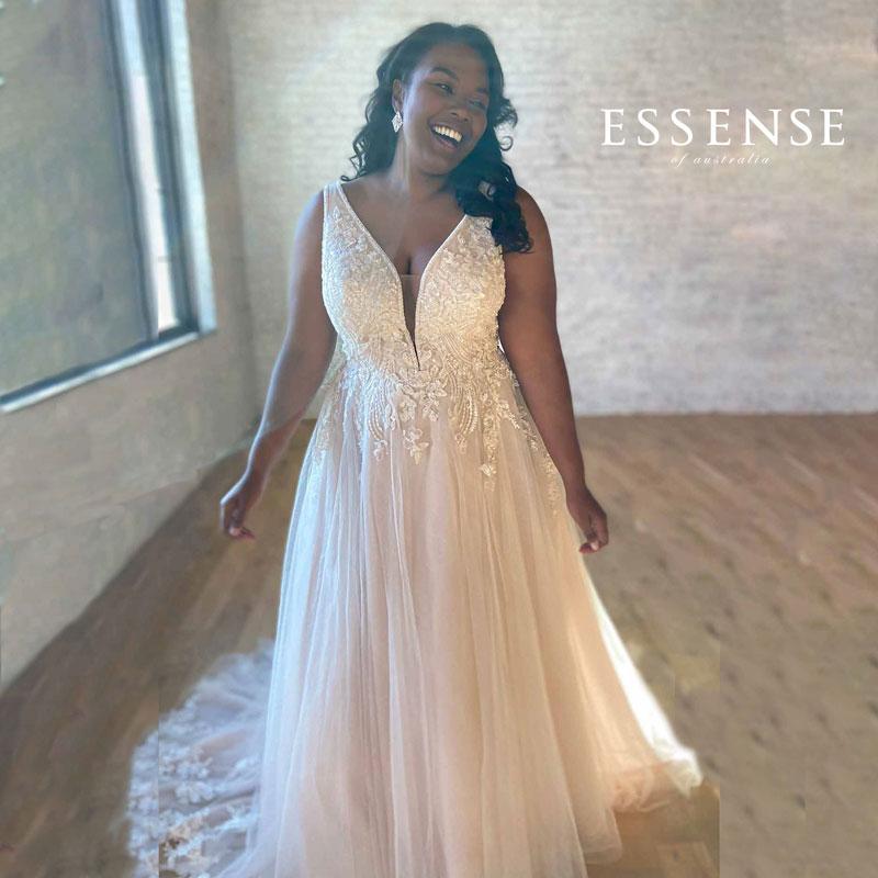 Plus-size sleeveless A-line wedding dress