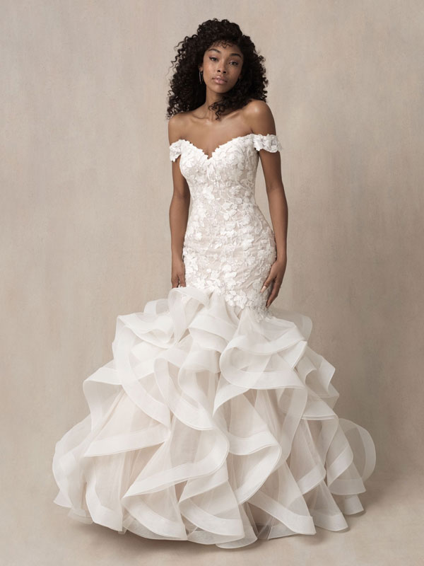 Trumpet silhouette wedding dress with off-the-shoulder cap sleeves