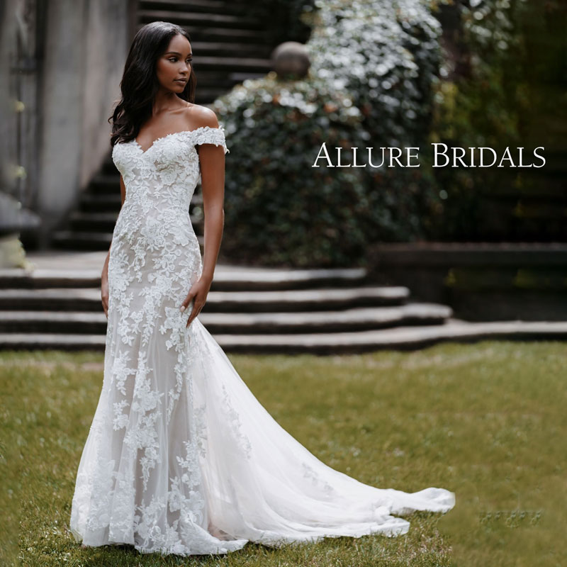 Elegant lace fit and flare wedding gown with off-the-shoulder cap sleeves