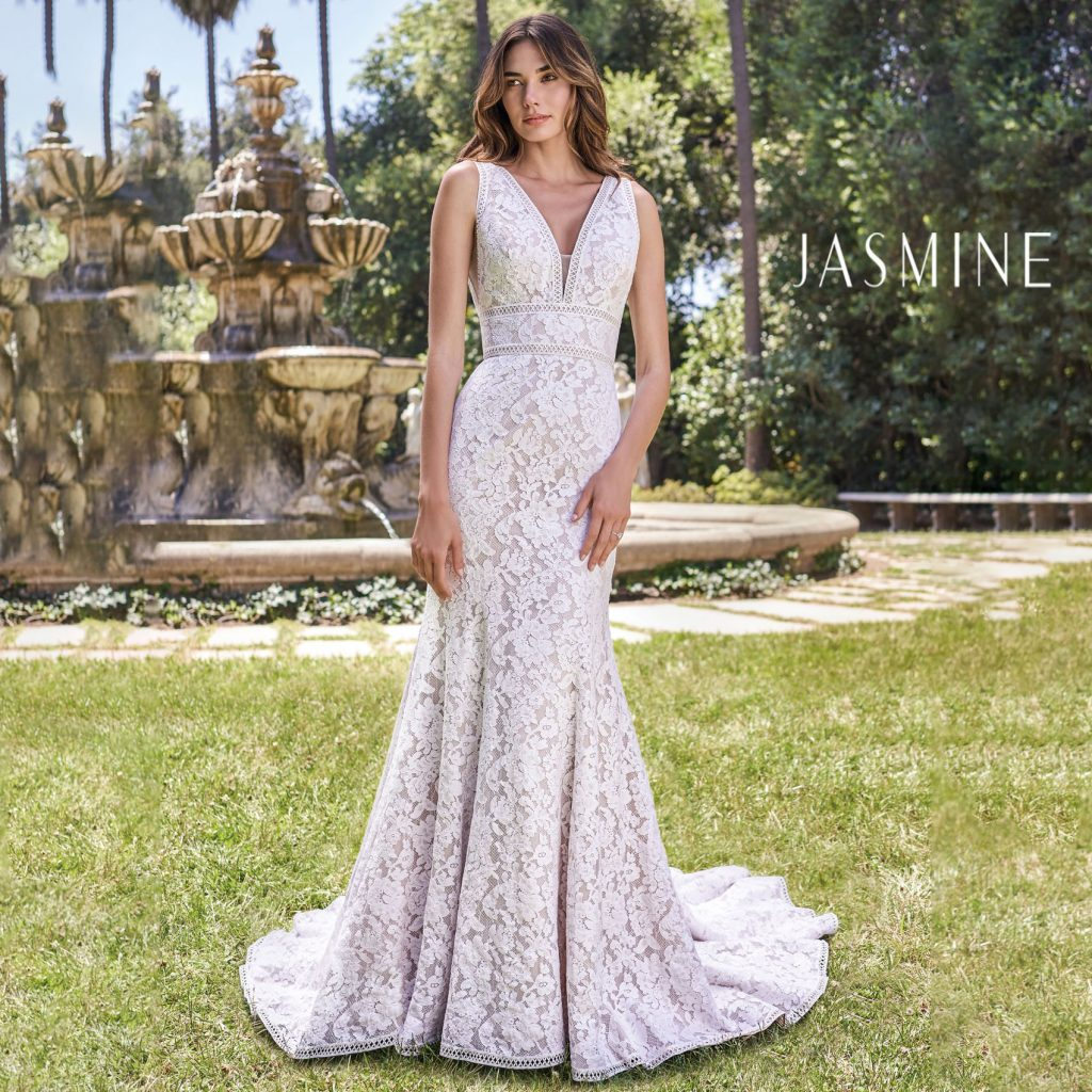 Classic sleeveless lace wedding gown from Jasmine Bridal