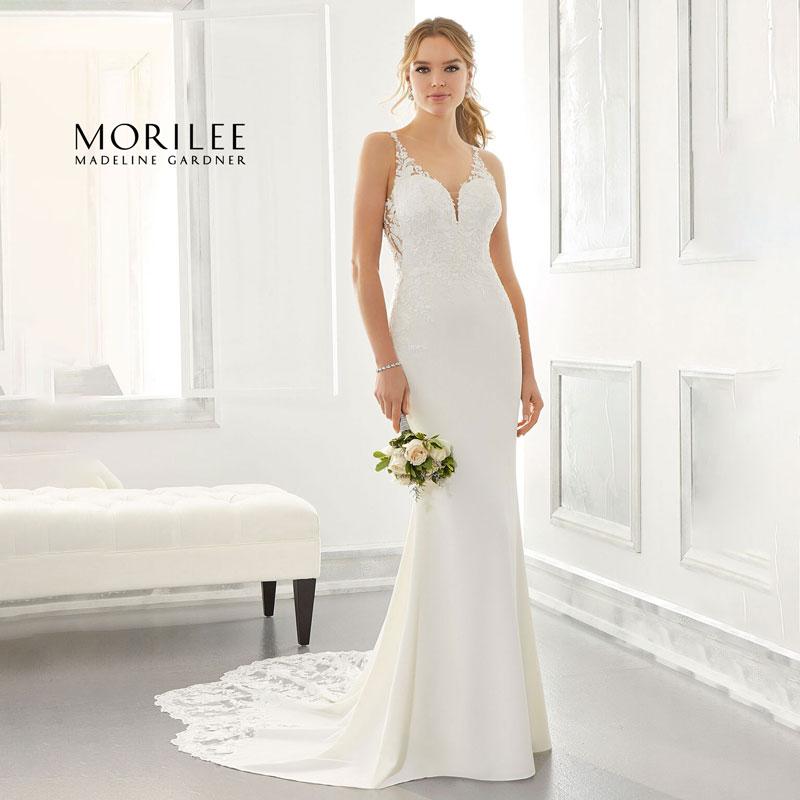 Sleeveless sheath wedding dress from Morilee by Madeline Gardner