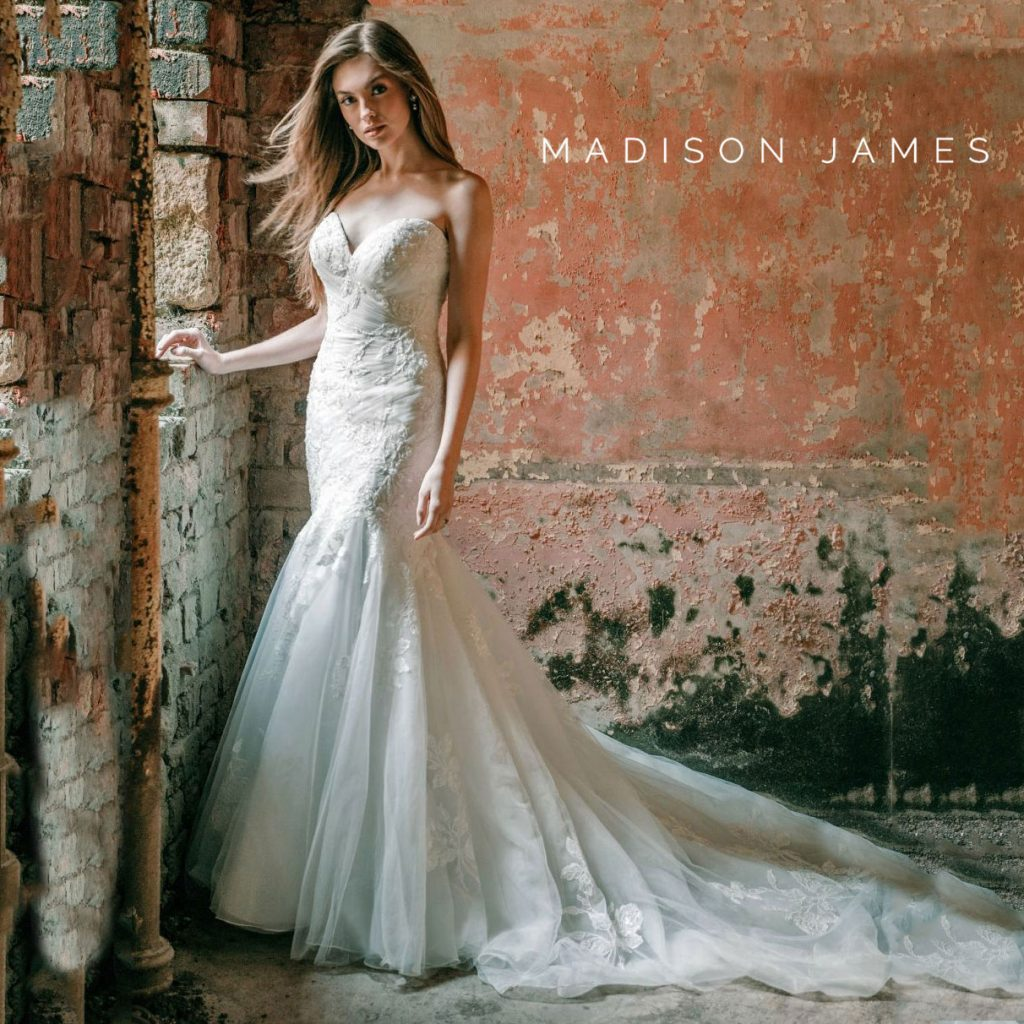Romantic strrapless fit and flare wedding gown from Madison James