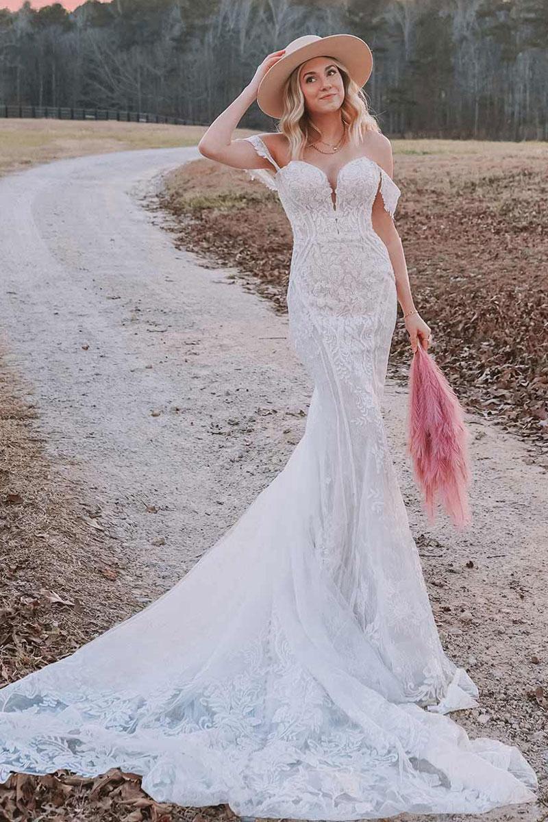 wedding-dress-off-shoulder-lace-fit-flare-Essense-D3308