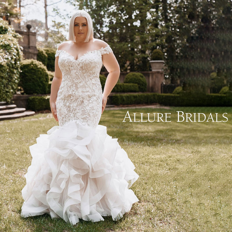 Plus-Size fit & flare bridal gown with off-the-shoulder cap sleeves