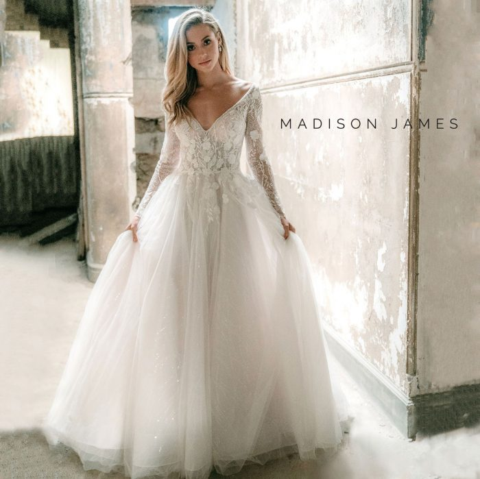 Madison James ball gown wedding dress with sleeves