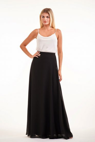 2-piece black and white formal dress with cowl neck and spaghetti straps