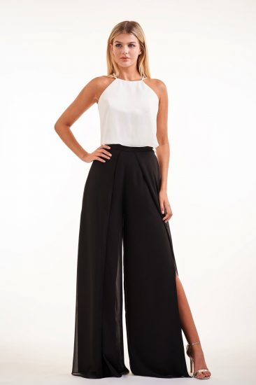 Two-piece-black and white formal pants with halter top