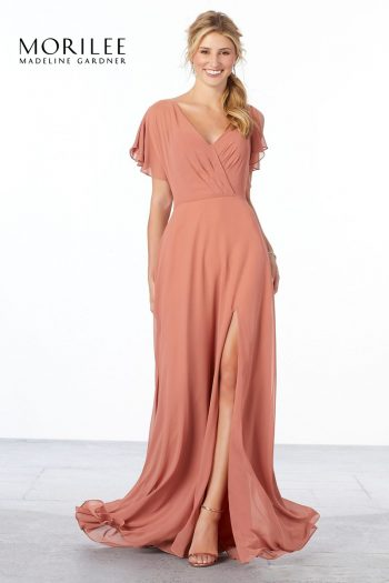 Peach chiffon bridesmaids dress with flutter sleeves, from Morilee by Madeline Gardner