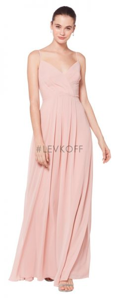 Long pink Bill Levkoff bridesmaids dress with spaghetti straps