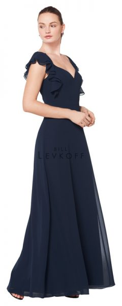 Young woman wearing dark blue bridesmaids dress