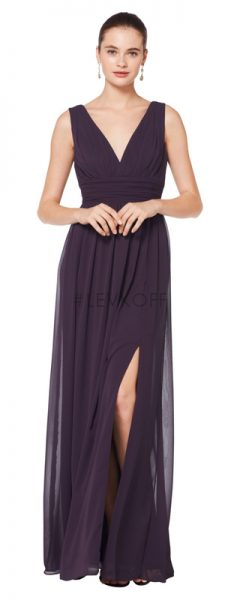 Young woman wearing eggplant bridesmaids dress with V-neck