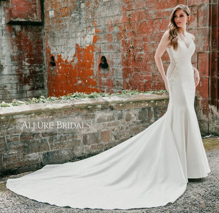 Fit and flare bridal gown with long train, by Allure Bridals