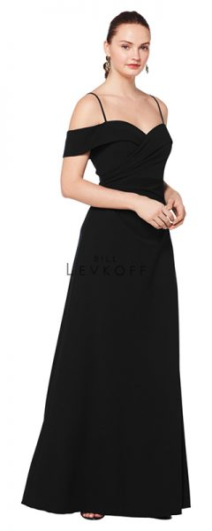 Young woman wearing long black bridesmaids dress with off the shoulder cap sleeves and spaghetti straps