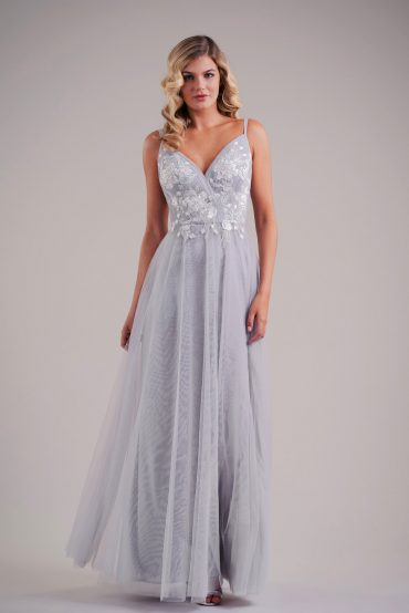 Long silver formal dress with V-neck