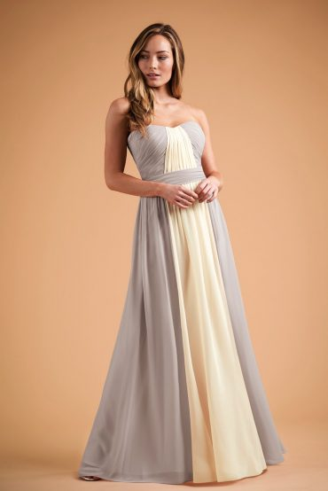 Two-tone strapless formal dress