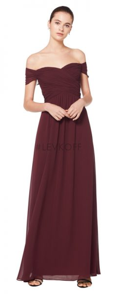 Long burgundy Bill Levkoff bridesmaids dress with off the shoulder cap sleeves