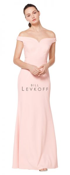 Long pink Bill Levkoff bridesmaids dress with off the shoulder cap sleeves