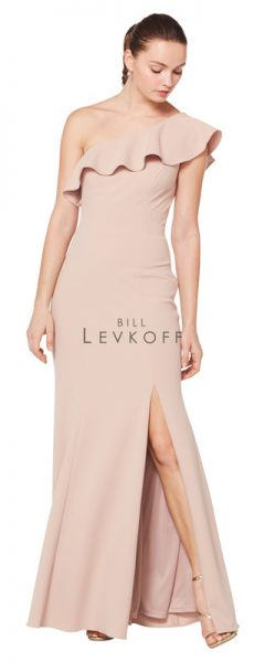 Long taupe Bill Levkoff bridesmaids dress with one shoulder