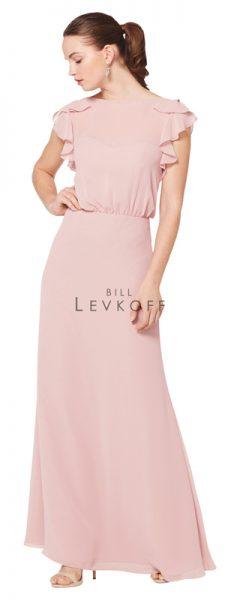 Young woman wearing long pink bridesmaids dress