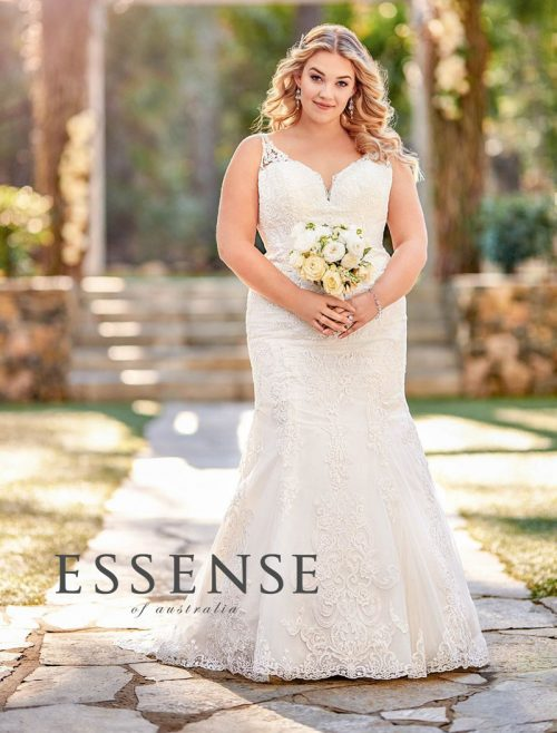 traditional wedding dress with shaped train from Essense of Australia