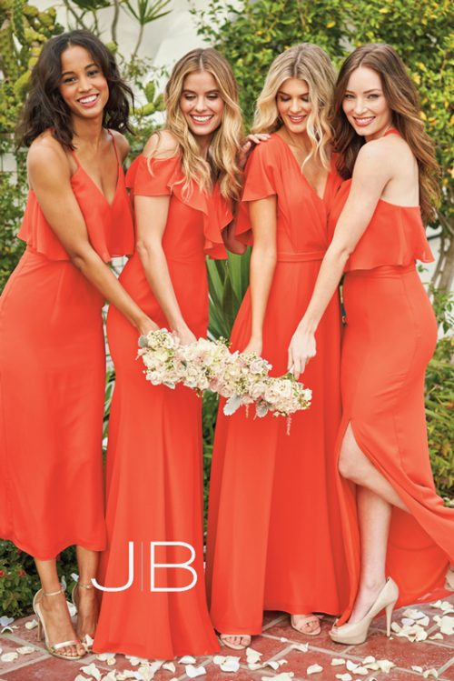 Sunset orange bridesmaids dresses in different styles