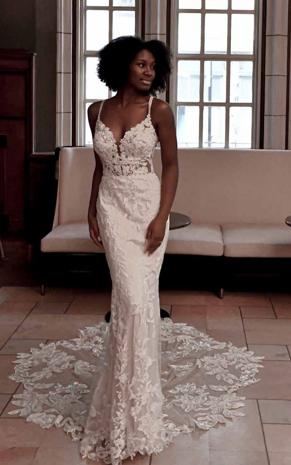 Sexy lace sheath wedding dress by Essense of Australia