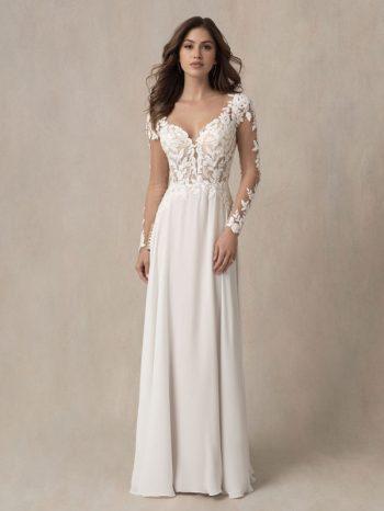 Long sleeved A-line wedding dress