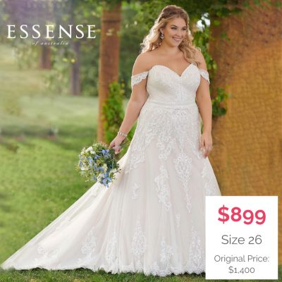 Plus-Size Bridal Gown with off the shoulder cap sleeves
