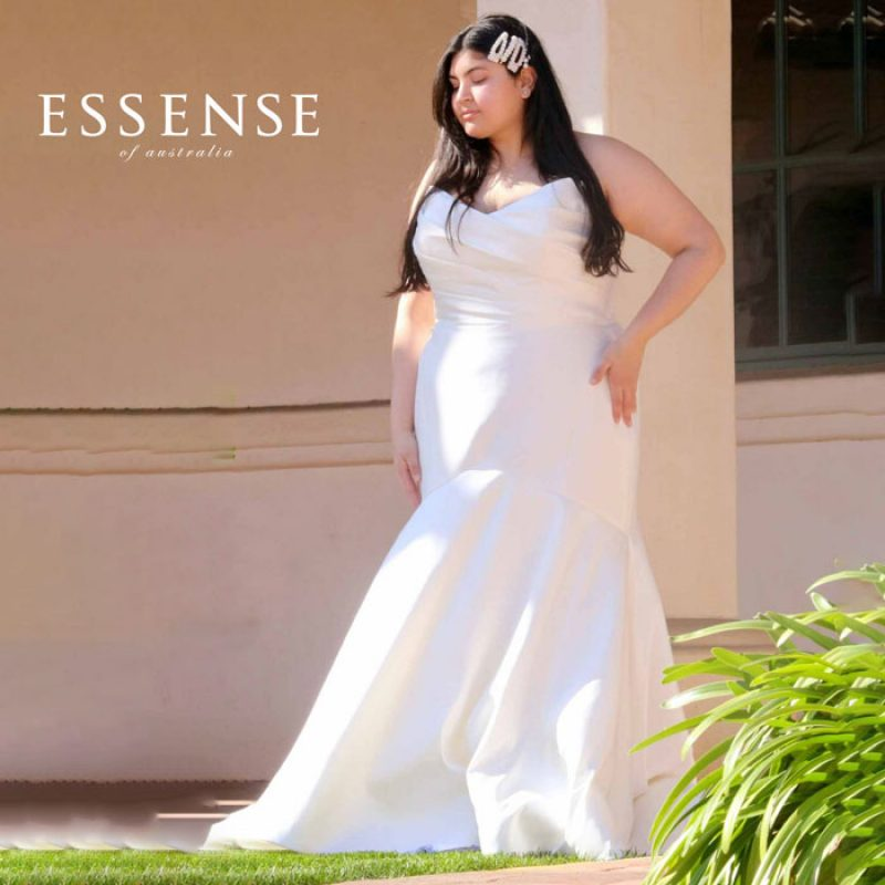 Plus-size strapless fit-and-flare-bridal gown